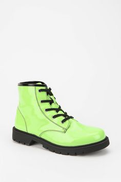 Deena & Ozzy Neon Patent Combat Boot- Call me crazy but I'm in LOVE with these.