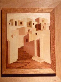 Pueblo cuadro de marqueteria chapas de madera marqueteria - Casas de marqueteria ...