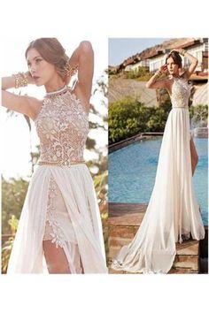 A-line Halter High Neck Lace Ivory Beach Wedding Dress,Prom Dresses N14
