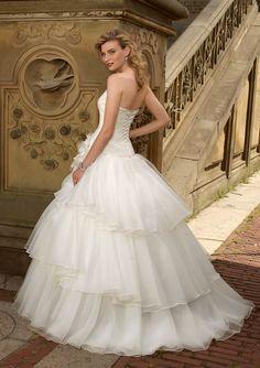 Pretty White Princess Scoop Neckline Wedding Dress,US$187.99