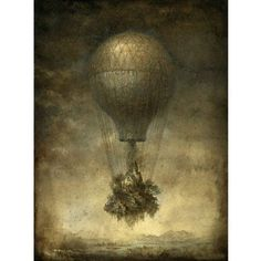 Marmont Hill Flying House Surreal Artists Mixed Media Print on Canvas, Size: 24 inch x 36 inch, Multicolor