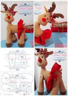 ⇨Learn how to create beautiful fabric Christmas reindeer 👗 Christmas Gingerbread House, Felt Christmas Ornaments, Christmas Art, Christmas Decorations Sewing, Christmas Sewing, Felt Diy, Felt Crafts, Christmas Tree Template, 242