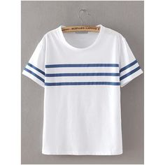 Round Neck Striped Loose T-shirt ($8.90) ❤ liked on Polyvore featuring tops, t-shirts, white, striped t shirt, stripe tee, white tee, striped top y short sleeve t shirts