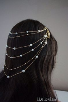 Crochet with beads? Bridal Hair Accessory, 6 tier Pearl and Gold Chain Comb Headpiece