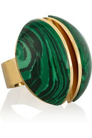 Chloé Ellie gold-tone stone ring - love the combination of gold and malachite. Malachite Jewelry, Lapis Lazuli Jewelry, Green Rings, Jewelry Art, Stone Jewelry, Jewelry Ideas, Jewelry Rings, Stone Rings, Jewels