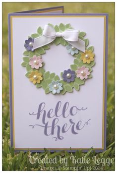 Beautiful use of the wondrous wreath stamp & punch! Stampin Up Hello There Spring Card by Katie Legge