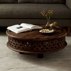 Carved Mango Wood Coffee Table In Cafe, $349 | West Elm