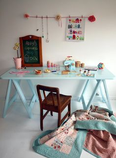 Cheeky Boy Blue Trestle Desk by Plank and Trestle Downing that Little Lane (aka DTLL) Girl Room, Girls Bedroom, Bedroom Ideas, Bedrooms, Trestle Desk, Student Room, Cubby Houses, Kid Desk, Boy Blue