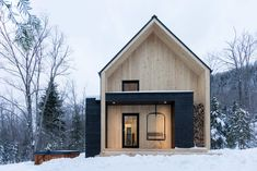 Modern, Scandinavian cabin with a beautiful entrance.