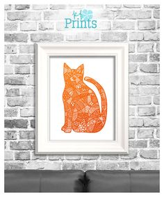 This orange cat zentangle is a Halloween print perfect for your homes spooky decor! This spooky cat print is a piece of hand drawn art that has been altered to become an easy to download, print, and display creepy printable! Dont miss out on this Halloween zentangle art!  Do you love this print? Please check out the other home décor prints and greeting cards we offer at KFPrints! http://etsy.com/shop/kfprints  -Why Buy Printables- Printable from KFPrints are the way to go ...