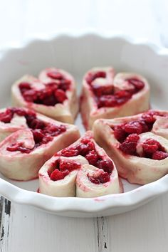 Heart Shaped Raspberry Rolls-All the heart eye emojis for these sweet and tart rolls.