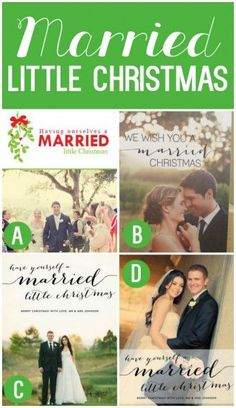 Newlywed Christmas Card: Married and Bright, Photo, Holiday Card ...