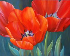 Red Tulips by Marianne Broome Red Tulips, Yellow Roses, Art Floral, White Iris, Oriental Lily, Autumn Lights, Watercolor Flowers, Painting Inspiration, Flower Art