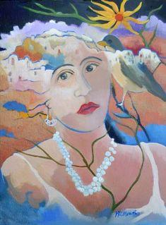 Mujer con Zorzal y Perlas