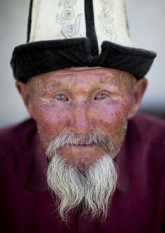 Old Bearded Man With Kalpak Hat, Kochkor, Kyrgyzstan