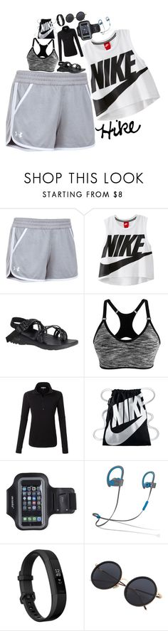 """""""Hiking// Contest Day 3"""" by smokeylovebae ❤ liked on Polyvore featuring Under Armour, NIKE, Chaco, LE3NO, Marika, Beats by Dr. Dre, Fitbit and kkssummersetcontest"""