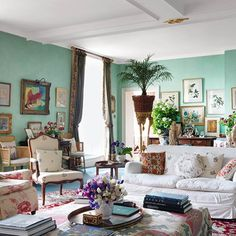 Country Chintz - A home with a rich history and interiors that combine comfort and charm - living room design ideas on HOUSE by House & Garden.