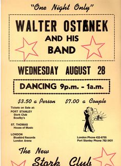 Stork Club Poster for Port Stanley, Ontario near St. Thomas and London #bigbands