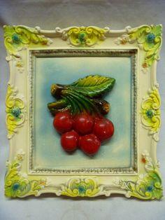 Vintage Chalkware Framed Cherries Wall Hanging