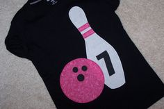 Bowling Party : Bowling Shirt Favor : Pink and black Twin Birthday, 9th Birthday, Birthday Ideas, Bowling Birthday Cakes, Bowling Pictures, Bowling Party, Family Birthdays, Party Entertainment, Party Time