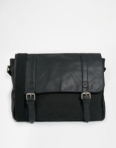 2abe17cfa14 ASOS Canvas And Faux Leather Satchel In Black at asos.com