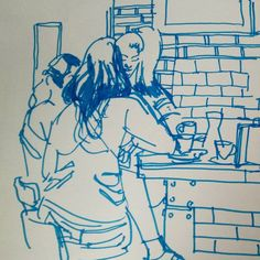 Last day of sketching in Manchester after the @urbansketchers symposium. A group of girls is having a brunch at The Pen and Pencil. #uskmanchester2016 #urbansketchers #usk #sketch #manchester
