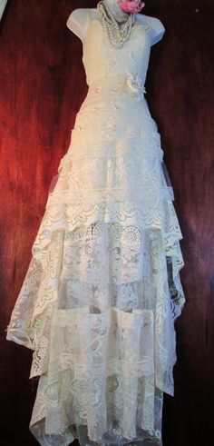 Cream wedding dress lace crochet ruffles by vintageopulence