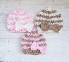 Striped Hand Knitted Newborn Hat / Baby by ZucchiniIslandKnits