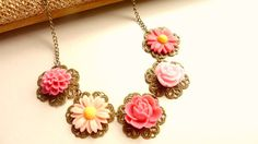 Pink Flower Necklace Pale Pink Fuchsia by Dewdropsdreams on Etsy, $28.99 https://www.etsy.com/listing/99473738/pink-flower-necklace-pale-pink-fuchsia