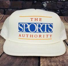 fd92efd7c19 Vintage Sports Authority Trucker Hat Snapback Baseball Cap 90s