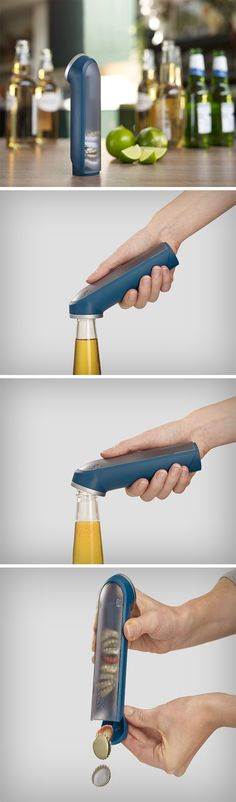 The Barwise Cap Collecting Bottle Opener brings the flair into cracking a bottle of beer open. Designed to look classy, unlike your tacky bottle openers, or the overtly tactical Swiss knife openers, the Barwise looks good on a bar counter. What's more, when you crack the cap open, it slides conveniently into the hollow handle of the Barwise, and can then be discarded later. BUY NOW!