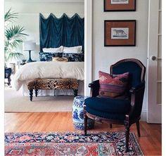 "The navy chair + the rug + leopard bench = bedroom heaven! ""9 Inspiring Instagram Bedroom Ideas to Steal"" from #OneKingsLane"