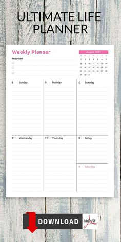This collection of Weekly Diary Templates is perfect for those who prefer minimalistic design and usability. Staying organized and focused are the first steps to creating a successful year. A way to take matters into your own hands and simplify your life. Timetable Planner, Weekly Hourly Planner, Time Planner, Weekly Planner Template, Blank Calendar Template, Schedule Templates, Checklist Template, Diary Template, Journal Template