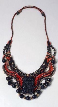 "Necklace | Barbara Natoli Witt. ""Chinese Black Jade Pendant"", 1987.  Nylon thread, black jade, gold."