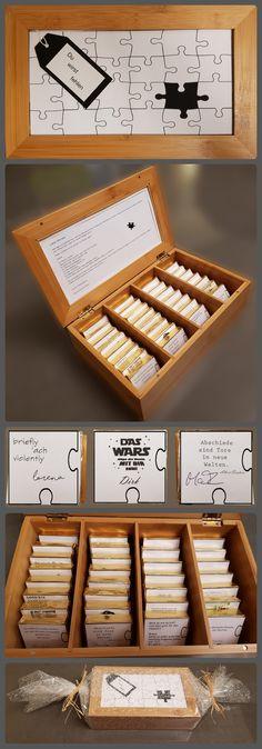 Danke schön zum Abschied eines Kollegen.  Als Alternative zum Merci-Geschenk. Die Schachtel ist eine Teebox aus Bambus. Die Kunststoffscheibe wird jeweils außen und innen mit Karton beklebt, wobei die eigentliche Karte innen angebracht wird. Der Inhalte sind Hanutas, auf die jeder Kollege einen individuellen Abschiedsgruß auf einer Vorlage von 8,5x8,5 cm formulieren kann.  Aufwand: ca. 2h Kosten: ca. 20 Euro