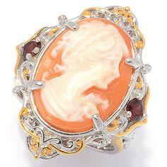 152-255 - Gems en Vogue 18 x 13mm Carved Shell Portrait Cameo & Garnet Ring