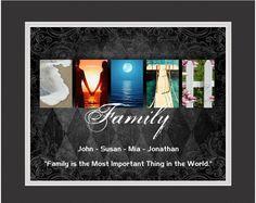 """Personalized """"Diamonds"""" Family 13"""" x 16"""" Framed Letter Art Print"""