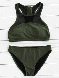 Shop Mesh Detail Racer Back Bikini Set online. SheIn offers Mesh Detail Racer Back Bikini Set & more to fit your fashionable needs.