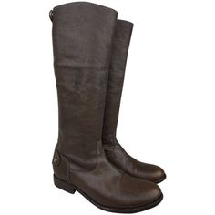 Pre-owned Frye Melissa Button Back Zip Leather Dark Brown Boots ($213) ❤ liked on Polyvore featuring shoes, boots, dark brown, back zipper boots, equestrian tall boots, equestrian boots, knee high leather riding boots and back zipper riding boots