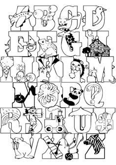 coloring pages - Full Alphabet Coloring Page colorpages coloring coloringpages Alphabet Templates, Alphabet Design, Alphabet Art, Animal Alphabet, Alphabet And Numbers, Alphabet Coloring Pages, Animal Coloring Pages, Coloring Book Pages, Coloring Letters