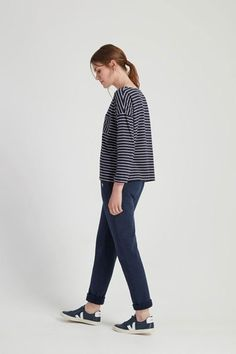 Easy-fit tee with bracelet-length sleeves and pocket. Graphic treatment of stripe in this drop-shoulder tee.