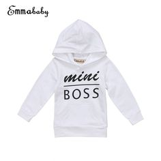 0286c04eb7d  Mini Boss  Black   White Cotton Sweatshirt. Baby Boy NewbornBoys  HoodiesHooded ...