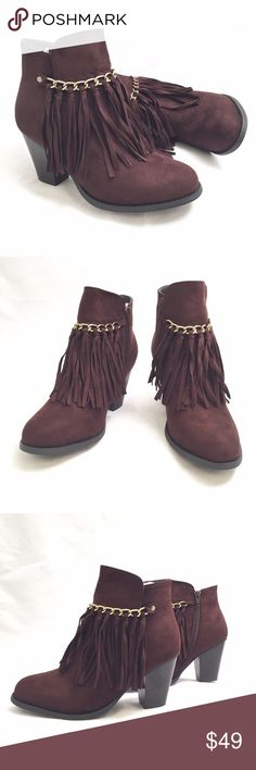 Pierre Dumas Brown Fringe Ankle Boot Bootie Gorgeous brown fringed bootie with gold link design on front. Heel measures 3'. Medium width and true to size. Pierre Dumas Shoes Ankle Boots & Booties