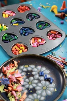 how to make crayons, use a shape to coordinate a theme for a party. Hearts for Valentine's Day, Dinosaur for kids party etc...
