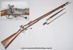 ENFIELD 3 BAND RIFLE/MUSKET, 1853 - this is the state of the art rifle the British gave their troops. It had a new rifled bore style that required greased cartridges. Civil War Photos, Military Weapons, Musketeers, Guns And Ammo, American Civil War, Firearms, Civilization, Antiques, Percussion Cap