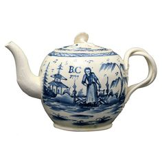 English Antique Creamware Pottery Teapot In Underglaze Blue Dated 1777