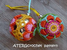 Crochet pattern Christmasball flower by от ATERGcrochet на Etsy