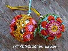 Crochet pattern Christmasball flower by от ATERGcrochet на Etsy