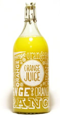 Orange Juice Packaging // Dagný Lilja Snorradóttir, via Behance // package design // type design // typography // type treatment // type packaging // type identity