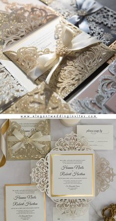 luxurious gold glitter laser cut wedding invites with ribbons